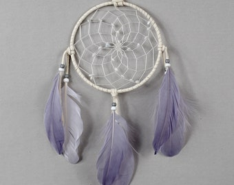 Wall Hanging Dreamcatcher, White and Gray Dream Catcher, Boho Wall Hanging, Nursery Wall Hanging, Bohemian Dreamcatcher