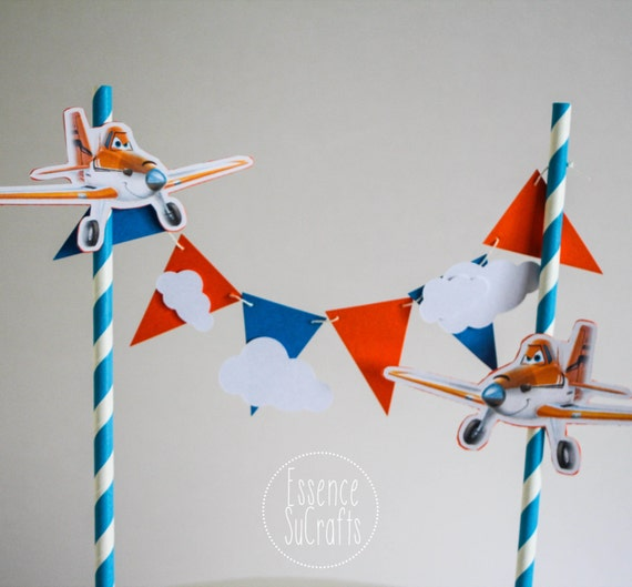 Pleasant Planes Banner Cake Topper Clouds And Planes Birthday Party Etsy Funny Birthday Cards Online Fluifree Goldxyz