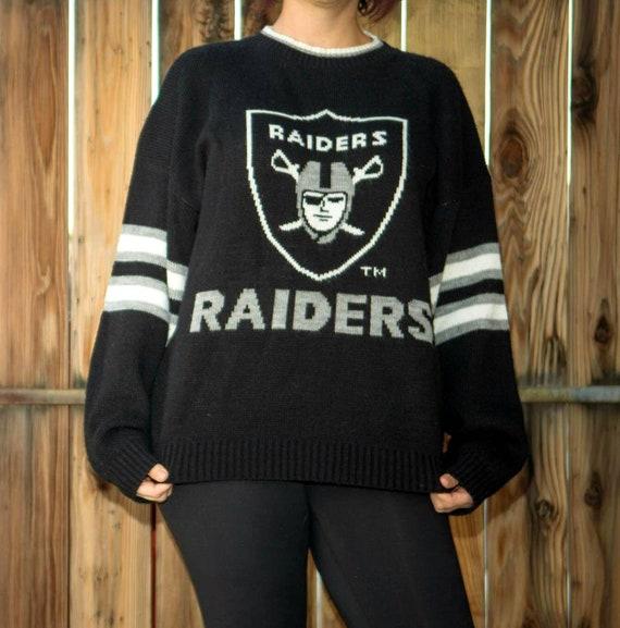 Vintage NFL Raiders Acrylic Sweater Size Large