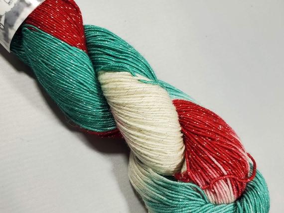 Candy Cane, sparkle, Sock Yarn