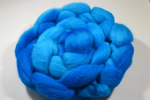 Extreme Blue, Polworth Wool and Silk Roving