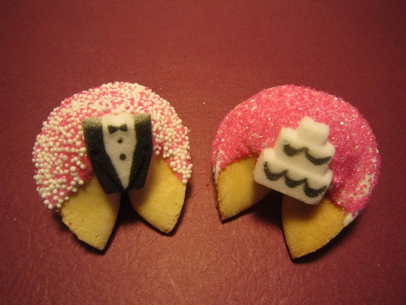 Wedding Gift Bridal Gift 24 PINK WEDDING Tux and Cake Fortune Cookies Bridal Shower Favors Wedding Party Favors