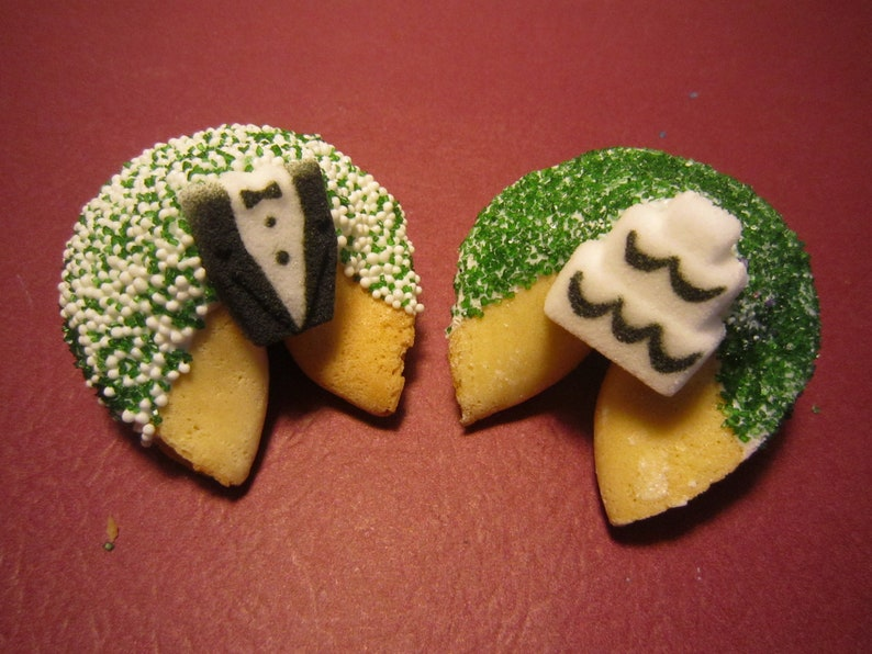 Wedding Party Favors Bridal Shower Favors Bridal Gift Wedding Gift 12 GREEN WEDDING Tux and Cake Fortune Cookies