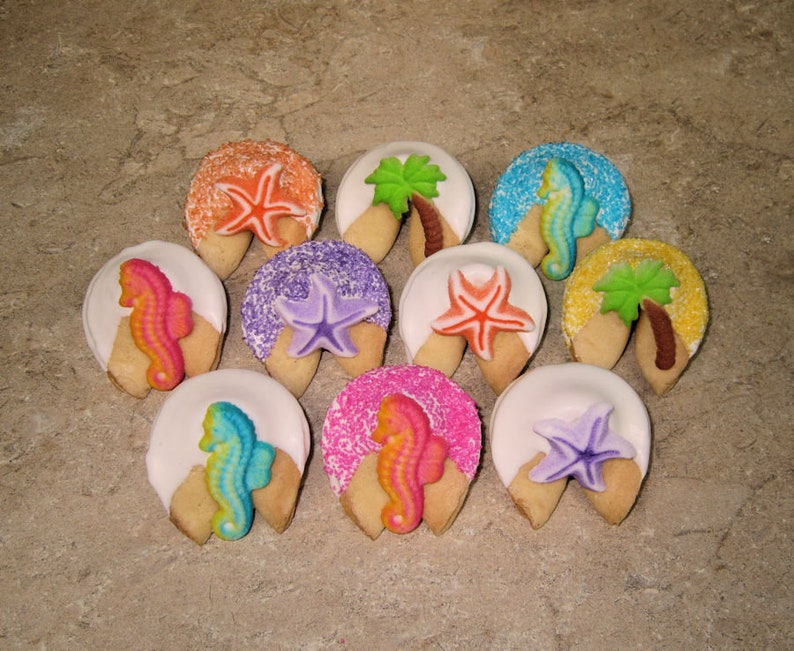 Dolphin Luau Summer Beach Sand Birthday Hawaiian 24 TROPICAL White Chocolate Dipped /& Decorated Fortune Cookies with FREE SHIPPING