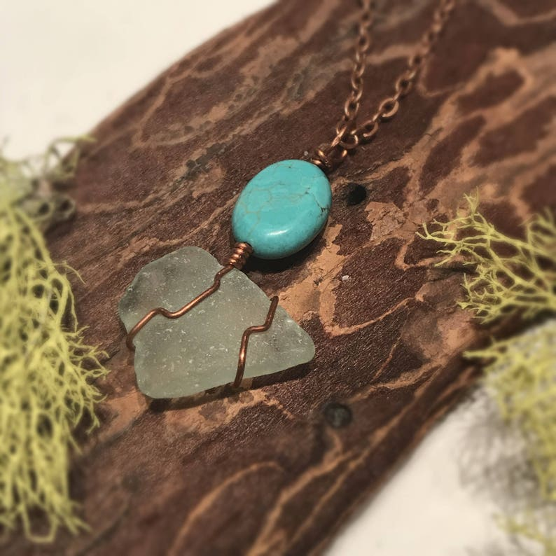 Upcycled Aqua Seaglass with Master Healing Turquoise and Energizing Copper with chain! **FREE PRIORITY SHIPPING** Handmade with Love