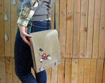 Beige Shoulder Bag w/ Green Strap / Messenger Bag / Handbag Shoulder or Cross-Body Bag with Unique Buttons Applique and Adjustable Strap