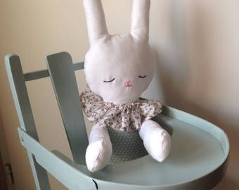 "Plush rag doll ""Bunny"" made with cotton fabric for all!"