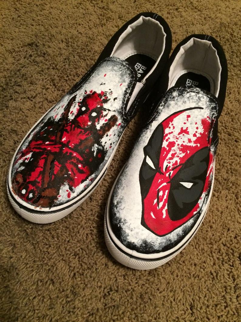 208d5f6766b2 Splatter Paint Custom Deadpool Shoes