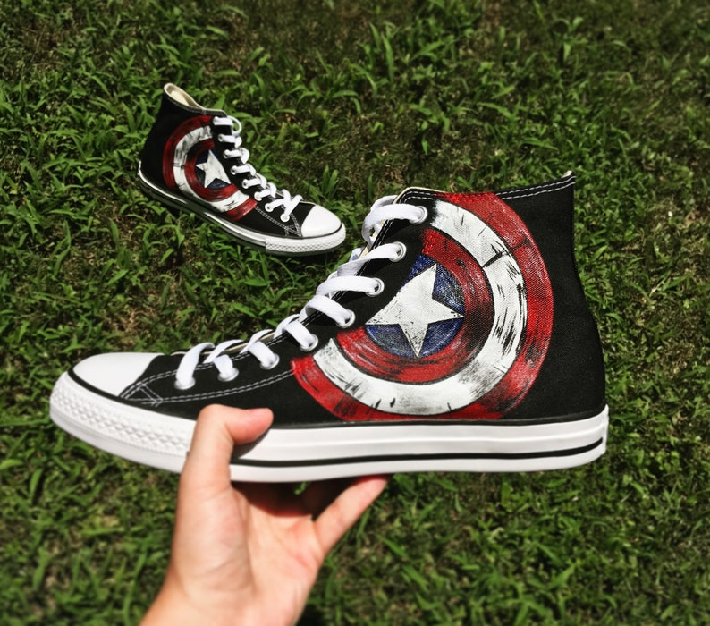 Custom Adult Converse Captain America Shields
