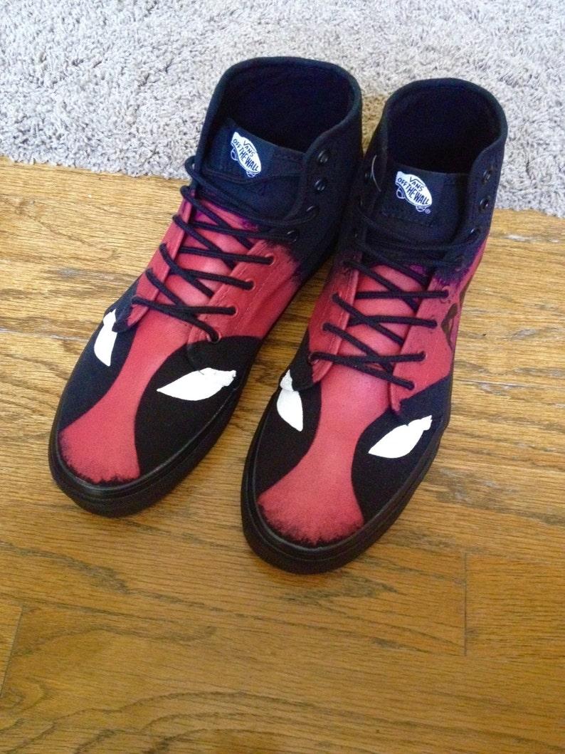 96c0104de09e Custom Deadpool Hightop Vans Adult Shoes