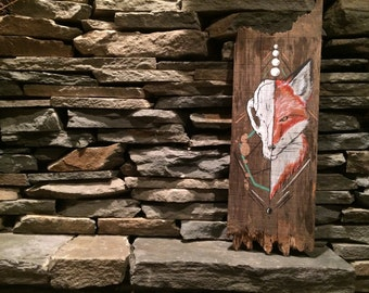 Handpainted Rustic Fox Wooden Decor