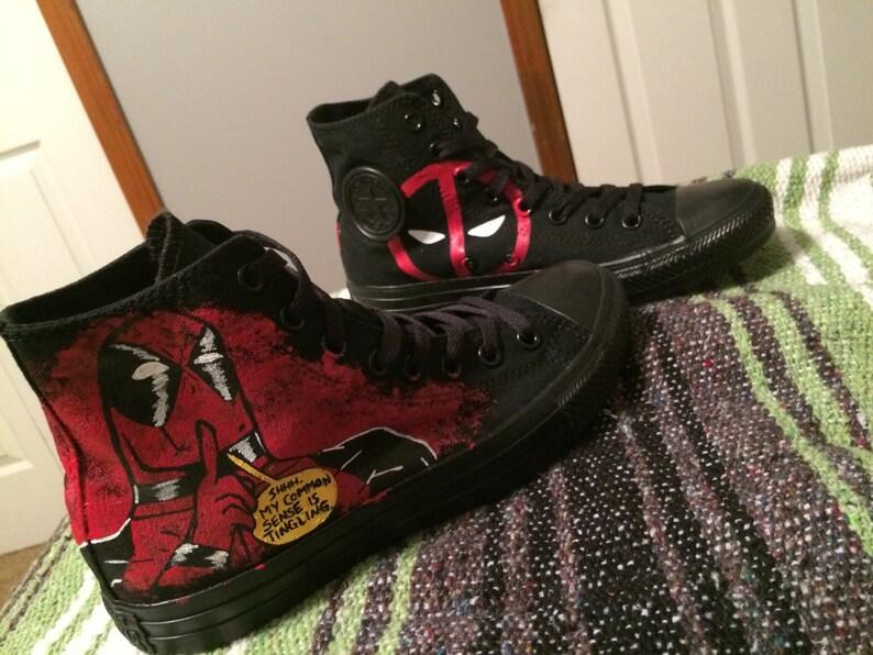 8fae21de883a Custom Pair Of Deadpool Adult Converse
