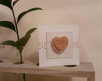 Love Card   White Glittery Love