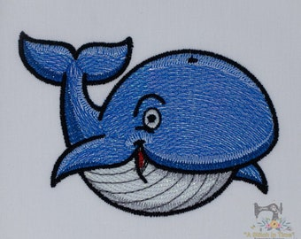 Mylar Applique Whale - Machine Embroidery Design - Instant Download