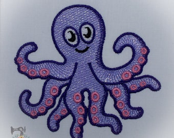 Mylar Applique Octopus - Machine Embroidery File - Instant Download