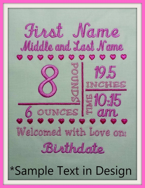 5x7 Birth Announcement Template Machine Embroidery File Etsy