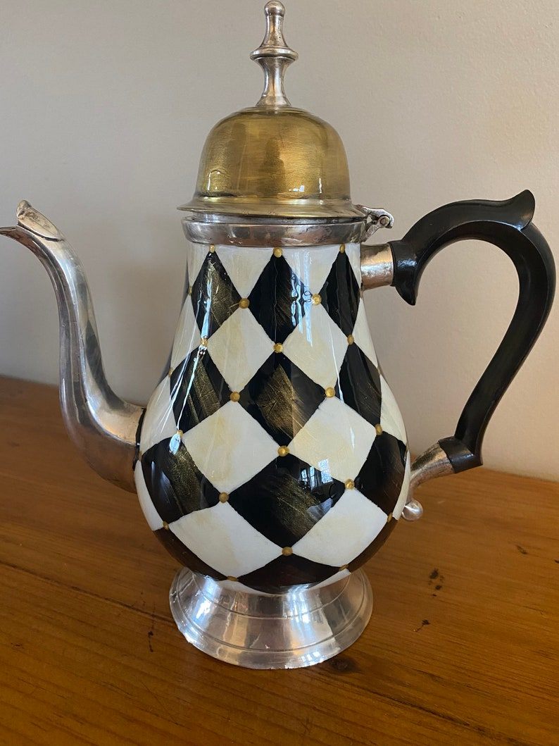 Vintage hand painted silver black and white harlequin teapot vase