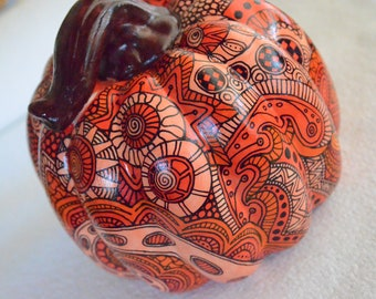 Doodled Orange Ceramic Pumpkin