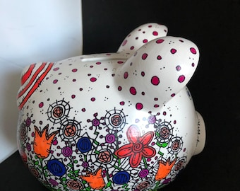 Flower Doodled Piggy Bank