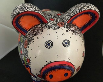 Flower Doodled Piggy Bank