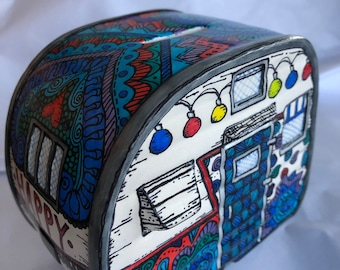 Retro camper piggy bank