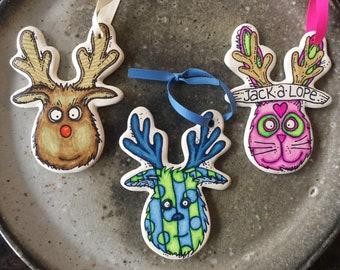 Reindeer christmas ornaments jackalope rudolph