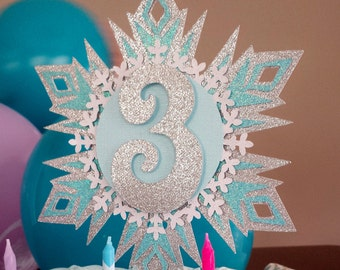 Frozen Cake Topper Sparkly Snowflake Birthday Winter Wonderland Party Blue Silver White Any Color