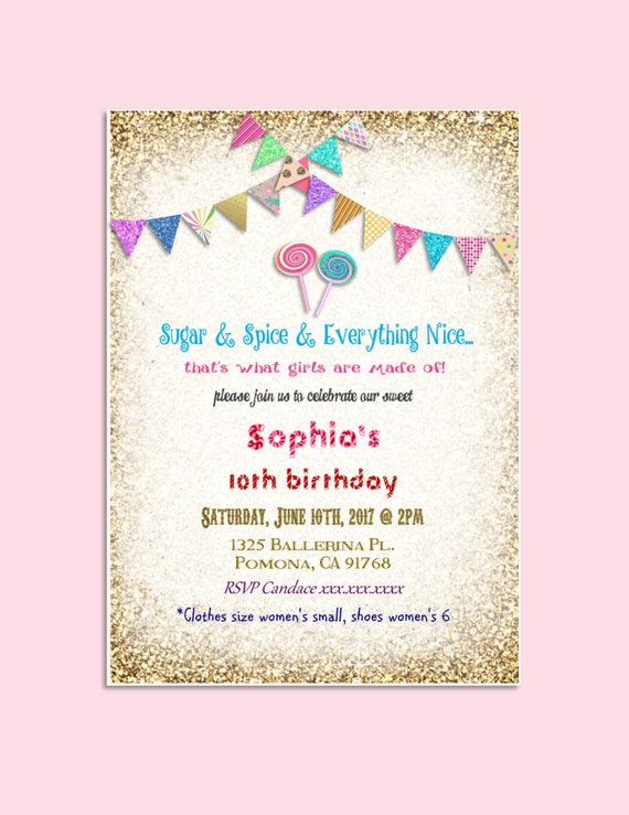 Candyland Birthday Invitation Gold Colorful Bunting