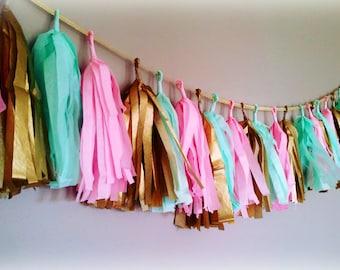 Mint, pink and gold tassel garland. aqua.  Tissue garland. Carousel party, carousel birthday, baby shower, bridal shower, nursery decor.