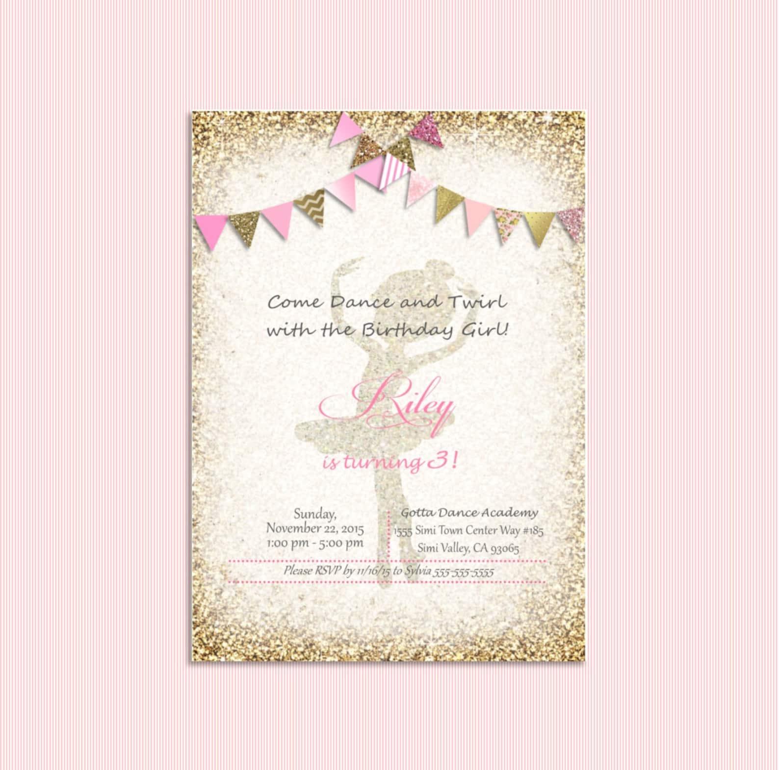 pink and gold ballerina invitation, ballet invitation, bunting. ballerina birthday, bridal shower, baby shower. recital invitati
