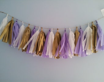 Lavender, white, gold, purple tassel garland. Tissue garland. birthday, baby shower, bridal shower, nursery decor.