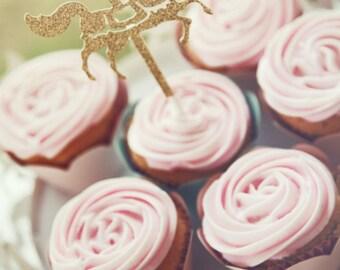 Set of 12. Gold Glitter Carousel Horse cupcake toppers.  Cake topper, carousel birthday, carousel party, vintage sparkle, cake topper