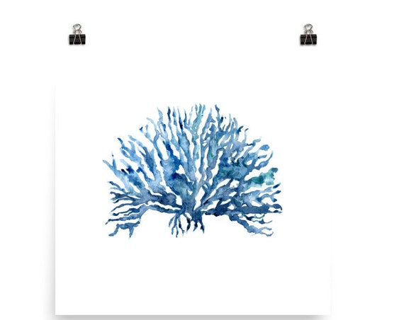 Blue Watercolor Coral Art Print