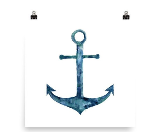 Coastal Anchor Watercolor Print