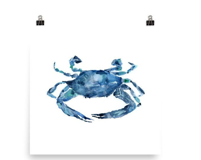 Featured listing image: Watercolor Crab Art Print 2
