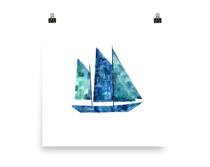 Featured listing image: Watercolor Boat Art Print