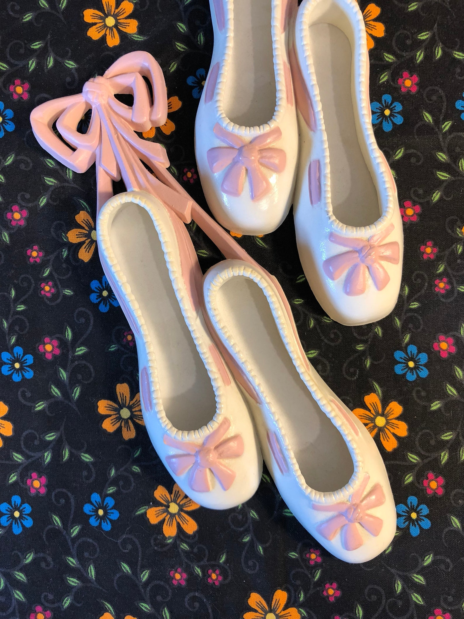 2 pair of white and pink ballet shoes ~ wall hangings ~ decor ~ dancing ~ kids room