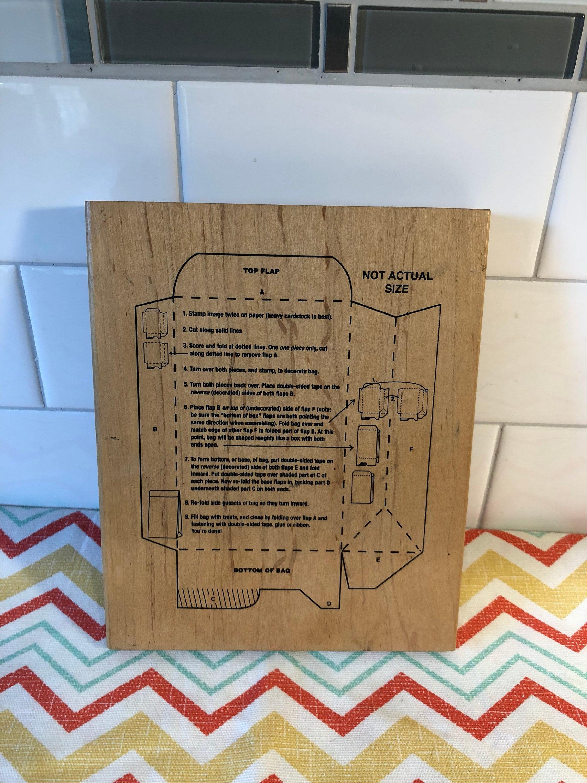 Jumbo Woodmounted Rubberstamp For Diy Bags Template Inky