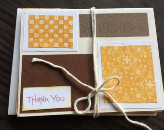Set of 8 handmade cards, brown and green, with envelopes