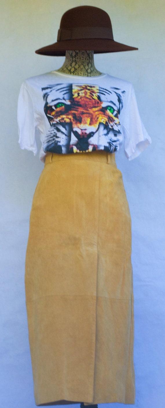Vintage Tan Suede Split Front Pencil Skirt. S-M.