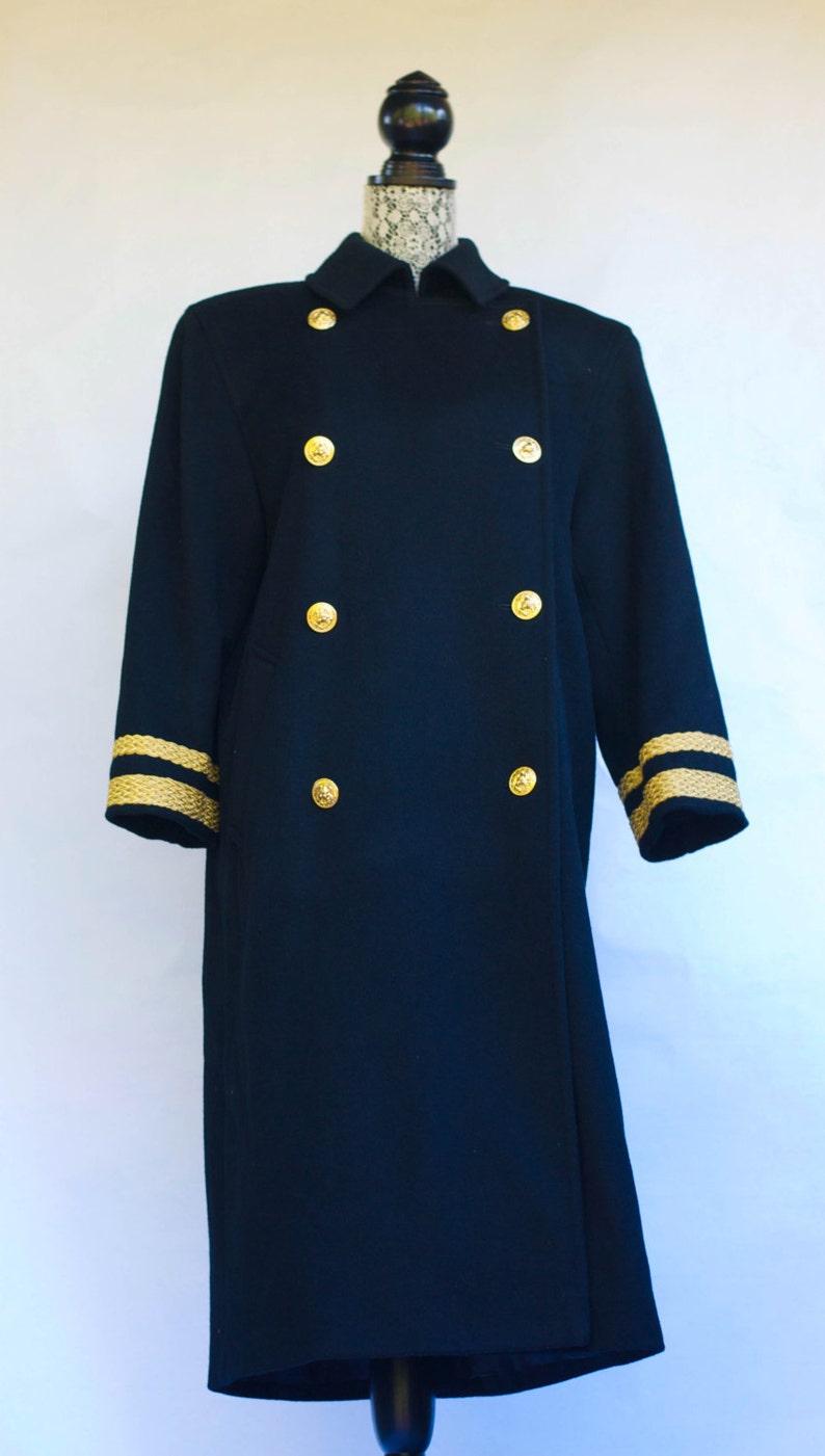 Size 8 Vintage 1980\u2019s Harv\u00e9 Bernard Full-Length Black Military Style Double Breasted Wool Coat With Metallic-Gold Soutache Trim