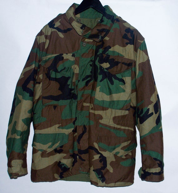 Vintage 1991 M 65 Field Woodland Camouflage Coat Small Short
