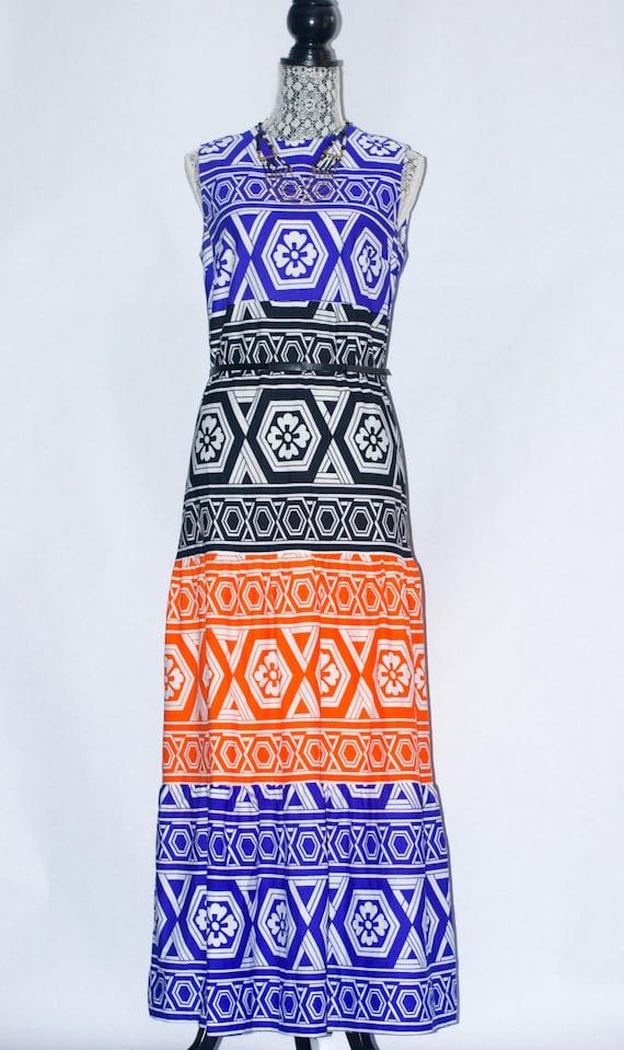 70's Lanvin Art Deco Graphic Maxi Dress vintage