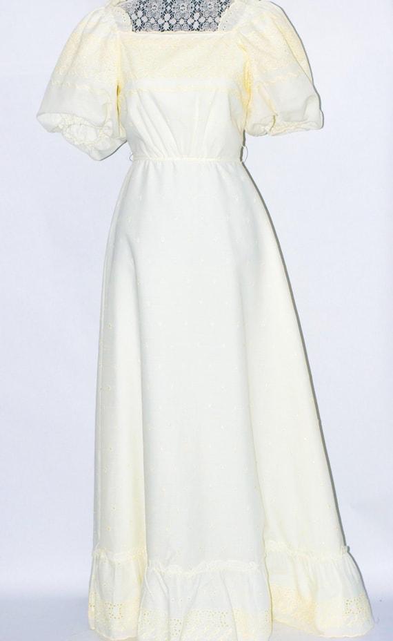 70's Ivory, eyelet, puff-sleeve Wedding Maxi Dress