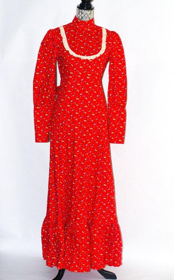 70's Victorian Full-Length Prairie Red Maxi Dress