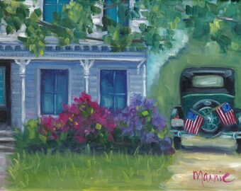 Yesterday, oil painting, americana, antique car