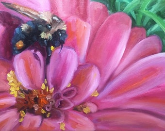 Just pollenating, oil painting, flower art, bee art, country art, original art