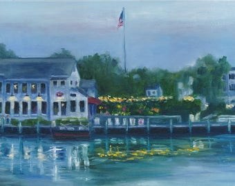 S and P Oyster house, oil painting, americana, mystic, ct, landscape