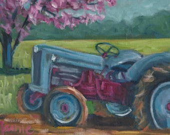 Ford Spring, painting,landscape, country art, ready to hang, americana