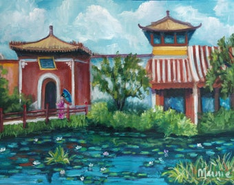 China Pavilion, oil painting, original art, landscape painting, epcot